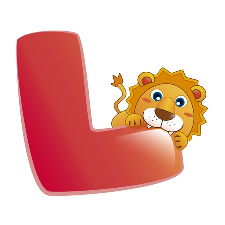 illustration of isolated animal alphabet L with lion on white Vector