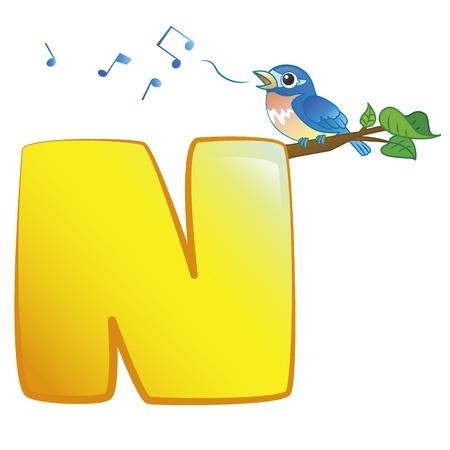 illustration of isolated animal alphabet N with nightingale on white