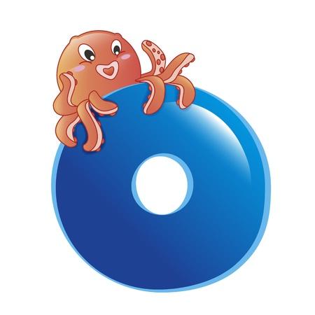 illustration of isolated animal alphabet O with octopus on white 일러스트