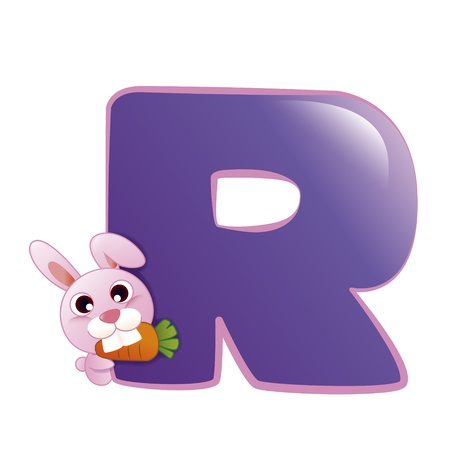 illustration of isolated animal alphabet R with rabbit on white Vector