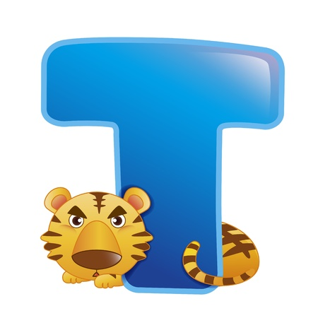 illustration of isolated animal alphabet T with tiger on white
