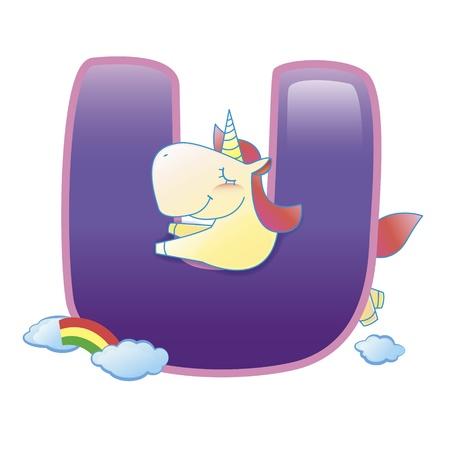 illustration of isolated animal alphabet U with unicorn on white 일러스트