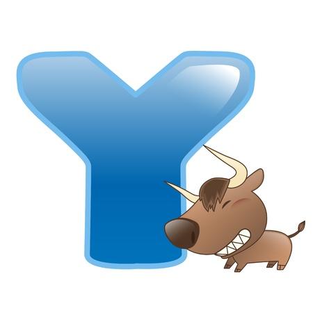 illustration of isolated animal alphabet Y with yak on white
