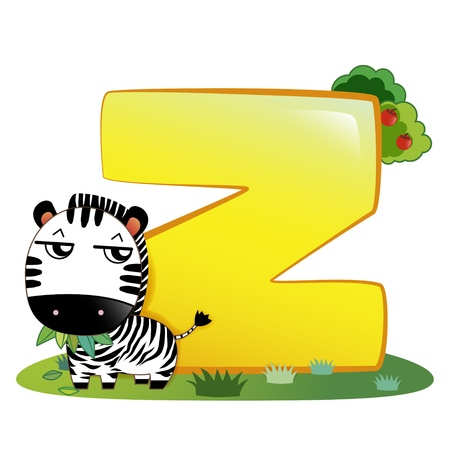 animal alphabet: illustration of isolated animal alphabet Z with zebra on white