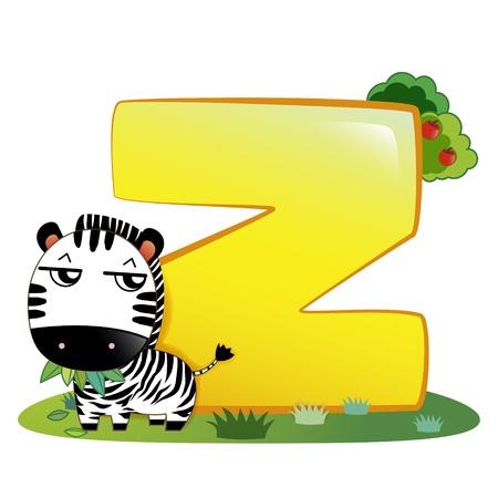 Ilustración de los animales aislado alfabeto Z con cebra en blanco Foto de archivo - 14322910
