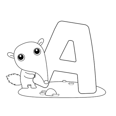 Coloring Alphabet for Kids,A Vector