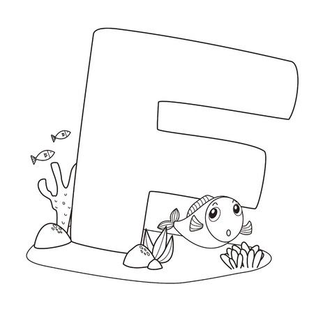 Alfabeto Para Colorear Para Los Niños, F Ilustraciones Vectoriales ...