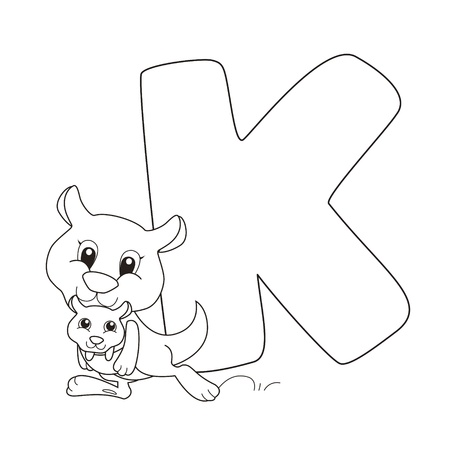 Coloring Alphabet for Kids,K Vector