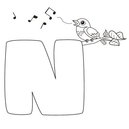 bird nightingale: Coloring Alphabet for Kids,N