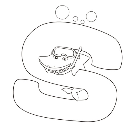 school of fish: Coloring Alphabet for Kids,S