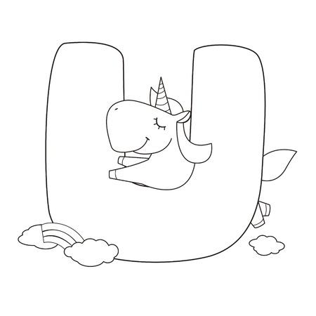 Unicorn fish: Coloring Alphabet for Kids,U Illustration