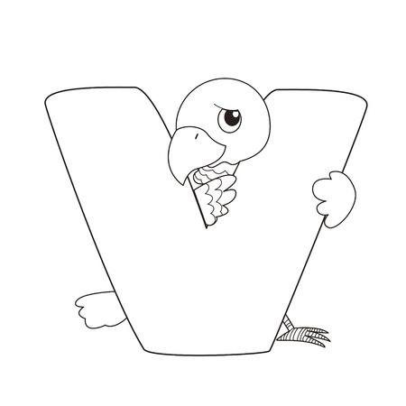 Coloring Alphabet for Kids,V Stock Vector - 14322914