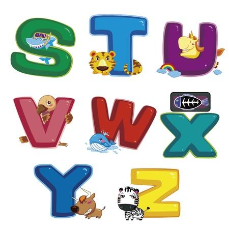 animal alphabet: illustration of isolated animal alphabet S to Z on white