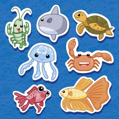 mar bonito animais adesivos Ilustração