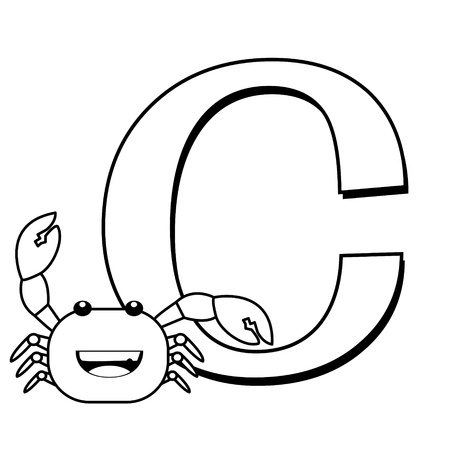 Coloring Alphabet for Kids, C with crab Vector