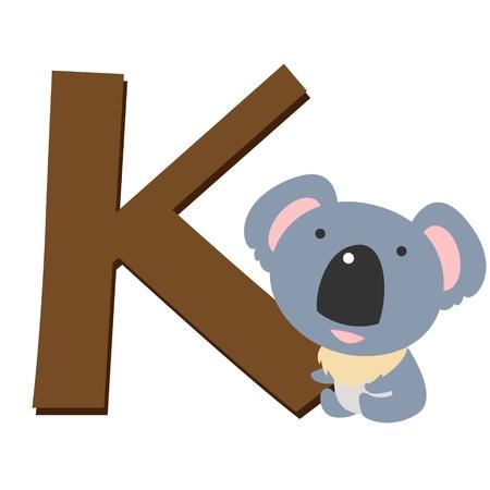 illustration of isolated animal alphabet K with koala on white Stock Vector - 14539328