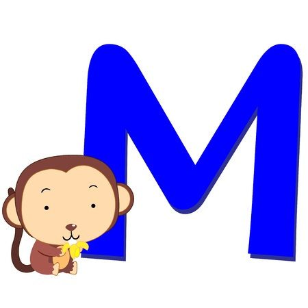 animal alphabet: illustration of isolated animal alphabet M with monkey on white