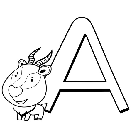 Coloring Alphabet for Kids, A with antelope Stock Vector - 14539349