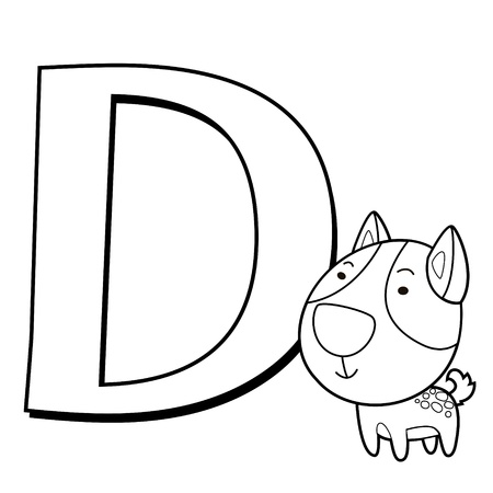 Coloring Alphabet for Kids, D with dog Vector