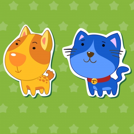 dog and cat: cute animal stickers with dog and cat Illustration