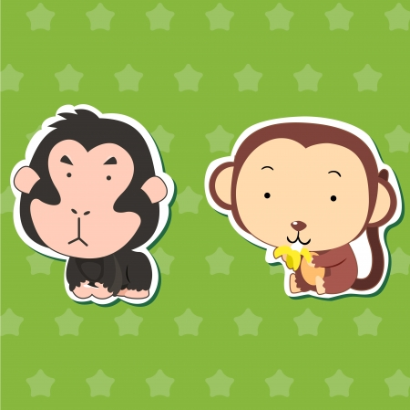 cute animal stickers with orangutan and monkey Vector