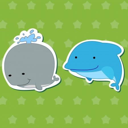 fond marin: autocollants animaux mignons avec des dauphins et des baleines