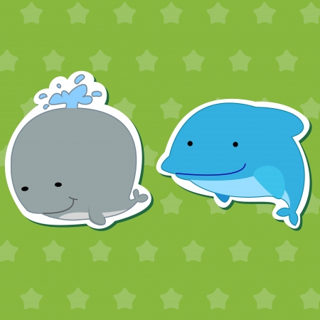 cute animal stickers with dolphin and whale Vector