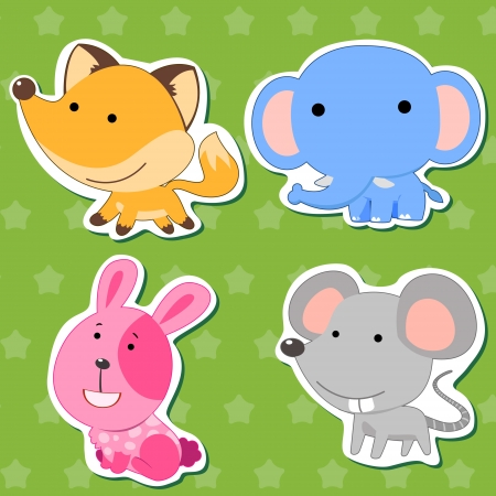 cute animal stickers with rabbit, fox, mouse, and elephant  Vector