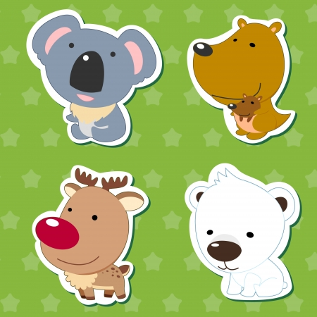 cute animal stickers with kangaroo, koala, elk, and polar bear  Vector