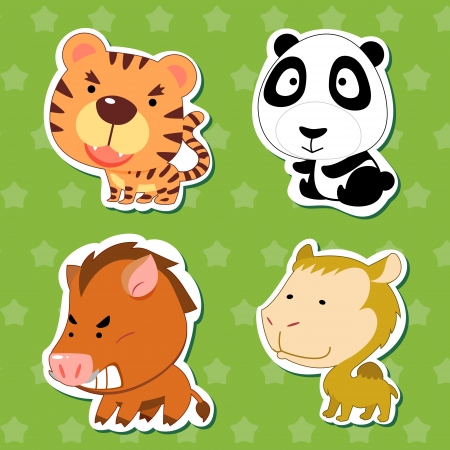 cute animal stickers with tiger, camel, wild boar, and panda  Vector
