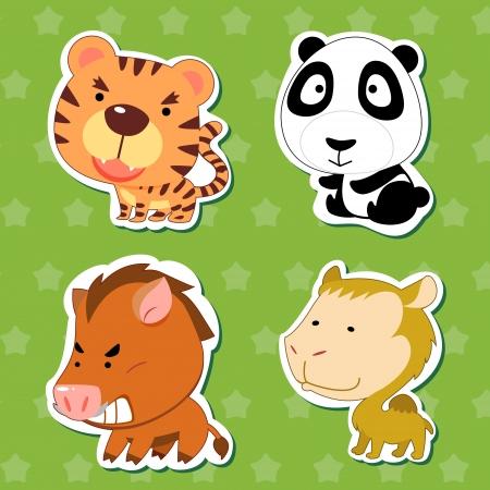 pegatinas lindos animales con el tigre, el camello, el jabalí, el oso panda y el
