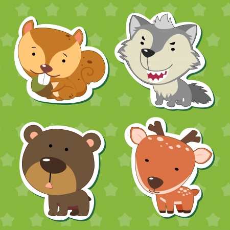 cute animal stickers with bear, wolf, squirrel, and deer  Vector