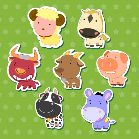cute animal stickers with sheep, bull, goat, dairy cattle, donkey, pig, and horse