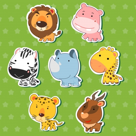 cute animal stickers with lion, hippo, zebra, rhinoceros, giraffe, cheetah, and antelope  Vector