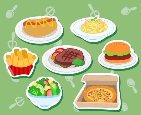 seven cute food stickers with hot dog, hamburger; steak, pizza, salad, fries,and pasta  Vector
