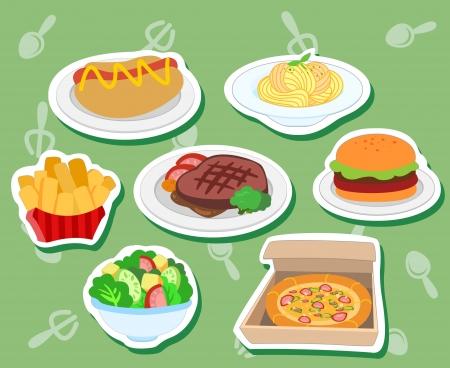 zeven schattige voedsel stickers met hotdog, hamburger, steak, pizza, salade, frites en pasta