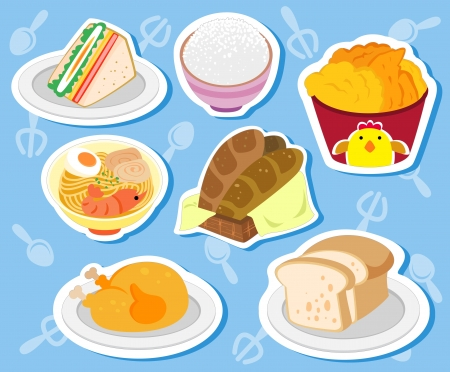 seven cute food stickers with noodles, chicken, sandwich, toast, rice, bread