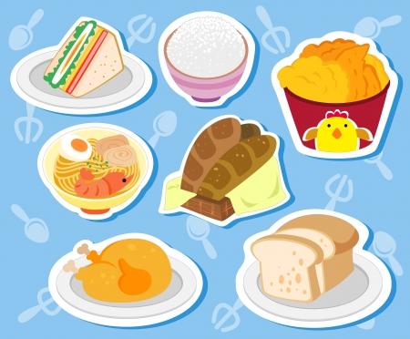 국수, 닭고기, 샌드위치, 토스트, 쌀, 빵 일곱 귀여운 음식 스티커