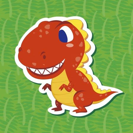 티라노 사우루스와 귀여운 공룡 스티커