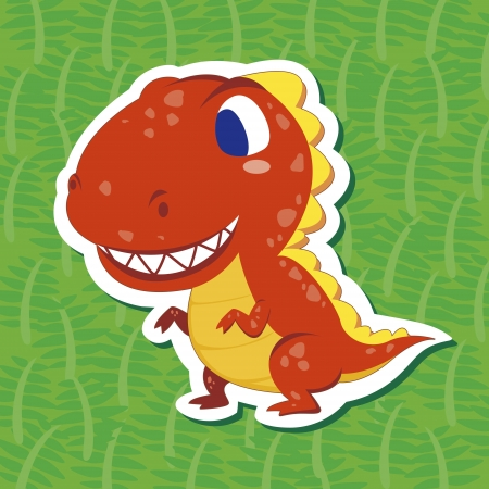 a cute dinosaur sticker with Tyrannosaurus Vector