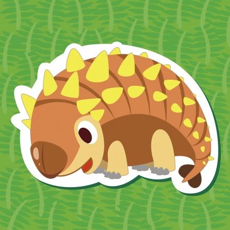 a cute dinosaur sticker with Ankylosaurus Vector