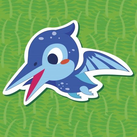 a cute dinosaur sticker with Pteranodon Vector