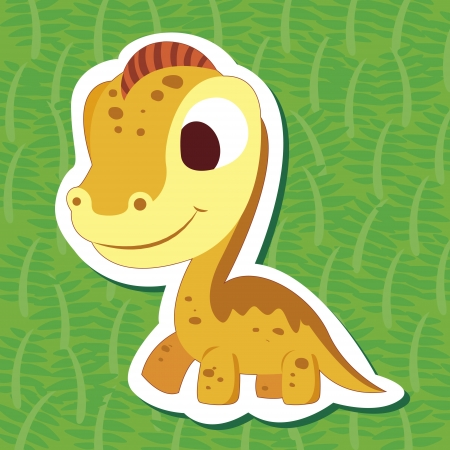 a cute dinosaur sticker with Brachiosaurus Vector