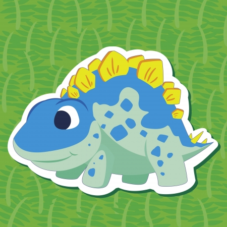 a cute dinosaur sticker with Stegosaurus Vector