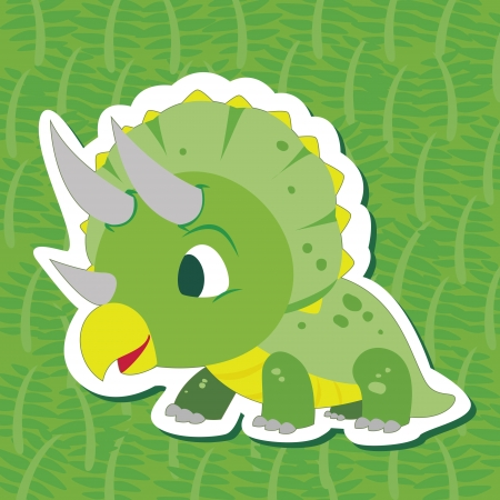 a cute dinosaur sticker with Triceratops Vector