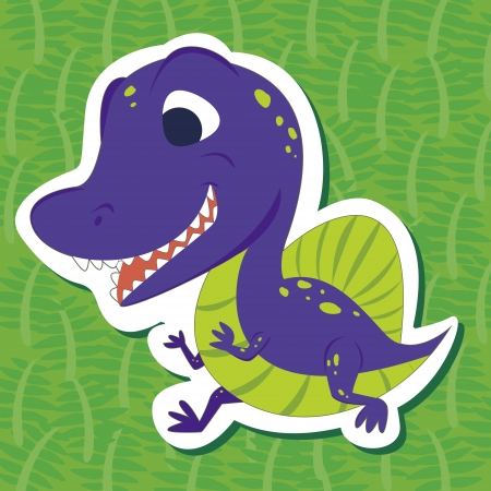 a cute dinosaur sticker with Spinosaurus Vector