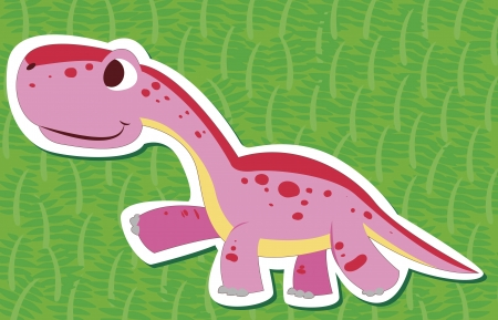 a cute dinosaur sticker with Diplodocus Vector