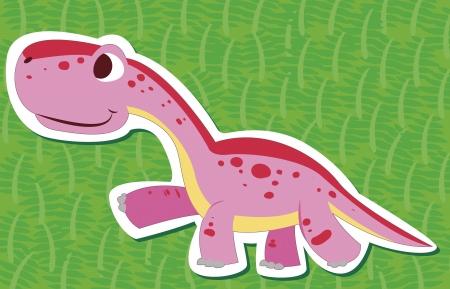 cute dinosaur: una calcoman�a lindo del dinosaurio Diplodocus, con Vectores