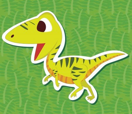 cute dinosaur: una etiqueta de dinosaurio lindo con Struthiomimus