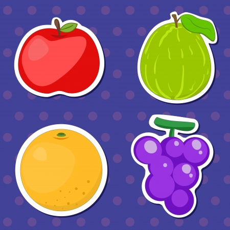 guava fruit: four cute fruits with apple, orange, grape,and guava